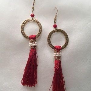 Jewelry - Goldtone Circular Earrings with Red Tassel